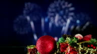 christmas decorations and fireworks loopable video