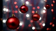 Christmas decorations, bokeh background, out of focus lights, Christmas and Happy New Year defocused abstract background. video