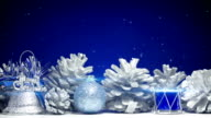 christmas decorations on blue background loop video