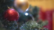 Christmas decorations on the Christmas tree with festive garland. video