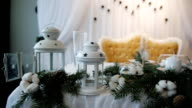 Christmas decorations on wedding table Rustic video