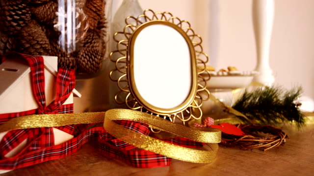 Christmas decorations on wooden table video