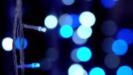 Christmas decorative glittering lights in the dark video