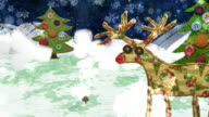 Christmas Eve: Reindeer and Gingerbread house, a mixed media animation. video