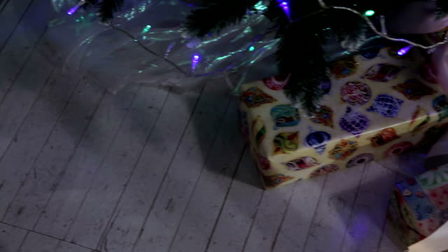 Christmas gifts under the Christmas tree. video