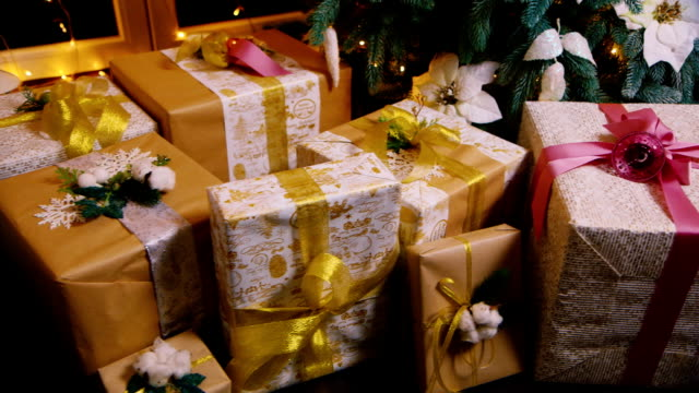 Christmas gifts under the Christmas tree video