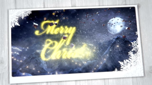 Christmas Greeting Card with presents (night, gold) - Loop video