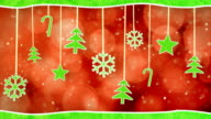 christmas hanging decorations loopable red green background video