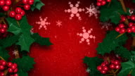 Christmas Holly Ivy with Snow Flakes Falling video