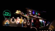 Christmas house illumination street view video