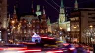 Christmas installation on Manezhnaya square, Historical museum and Kremlin towers timelapse video