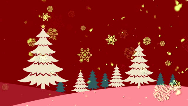 Christmas Landscape Red Loopable Background video