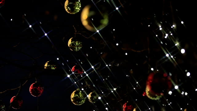 Christmas lights, decorations and garlands on the streets of the city. video