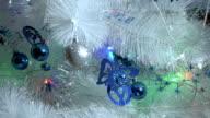 Christmas lights, white tree, detail video
