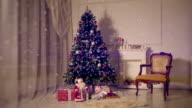 Christmas living room.Falling snow video