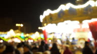 Christmas market with carousel. video