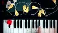 Christmas melody, christmas light, hands, retro video