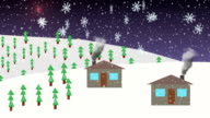 Christmas, new year animation. Snowing. Mountain village. Night. Tree. Moon rises over mountains and stars appear. Anticipation of holiday video