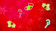 Christmas Ornament Pack Set Red Background Loop Animation video