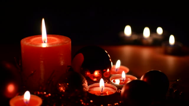 Christmas ornaments and candles video