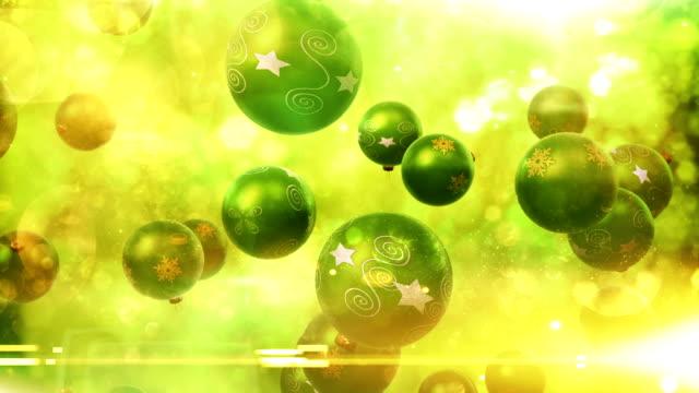 Christmas ornaments falling (green) - Loop video