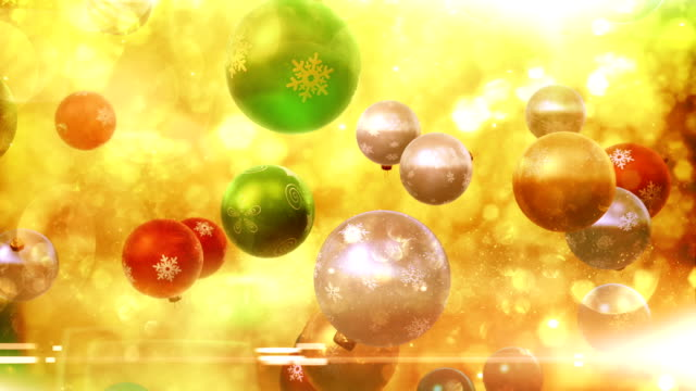 Christmas ornaments falling (multi-colored) - Loop video