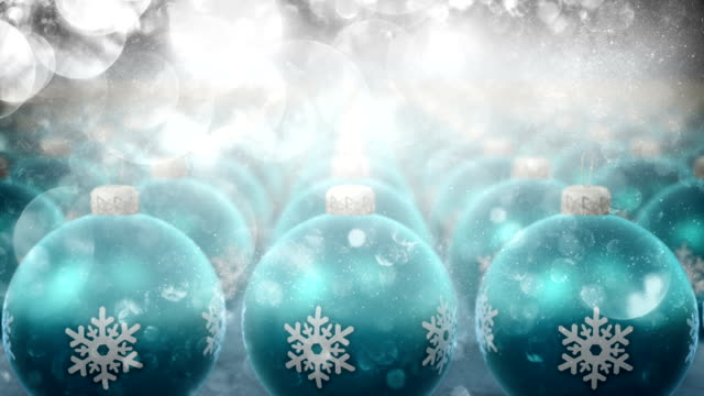 Christmas ornaments with glitter particles (blue) video