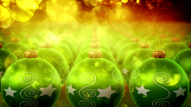 Christmas ornaments with glitter particles (green) video