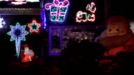 Christmas outdoor decorations at night video