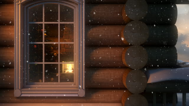 Christmas Scene Behind the Window  4K   Loopable video