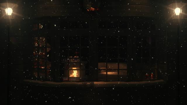Christmas Scene Behind the Window   Loopable - 4K video