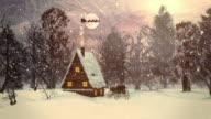 4K Christmas Scene with Flying Santa   Loopable video