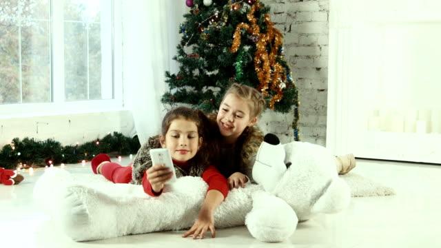 Christmas selfie of two girls video