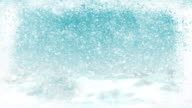 Christmas snow background with icy grungy window texture, loopable. video