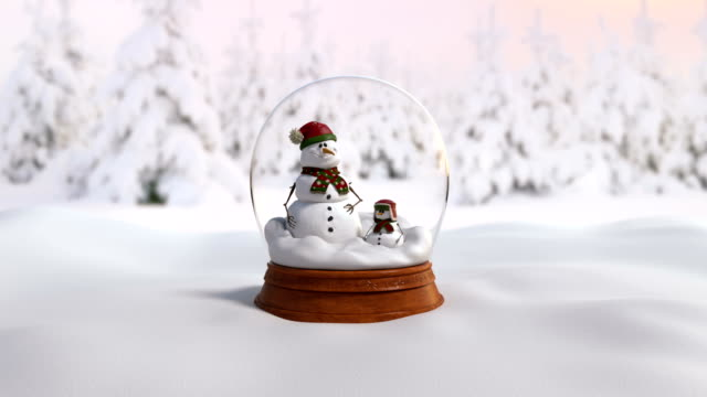 Christmas Snow Globe  4K animation with father and son snow and without snow. video