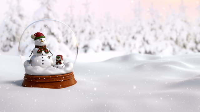 Christmas Snow Globe 4K animation with father and son snowman. Zoom in camera action video