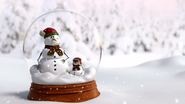 Christmas Snow Globe 4K animation with father and son snowman.Close-up camera angle video