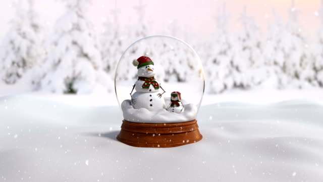 Christmas Snow Globe 4K loop animation with father and son snowman video