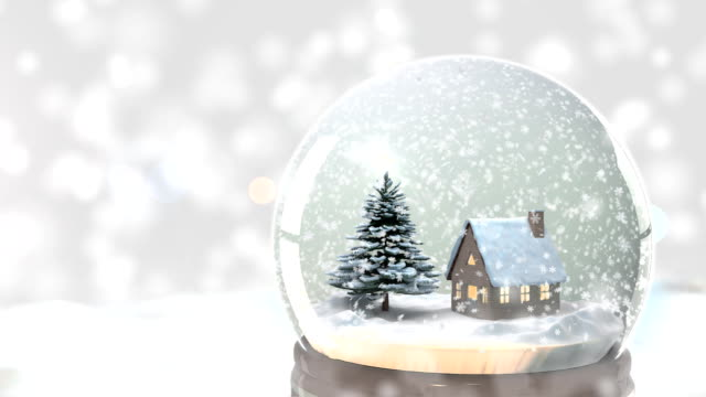 Christmas Snow globe Snowflake with Snowfall on White Background video