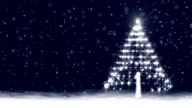 Christmas Snow Scene with Glowing Baubles andTree video