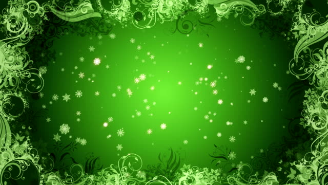 Christmas Snowflake background Green Loop video