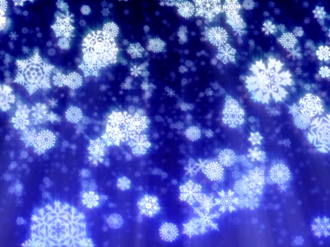 Christmas snowflakes falling on dark blue-purple background, loopable. PAL video