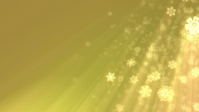 Christmas snowflakes falling on gold background, loopable. HD, NTSC video