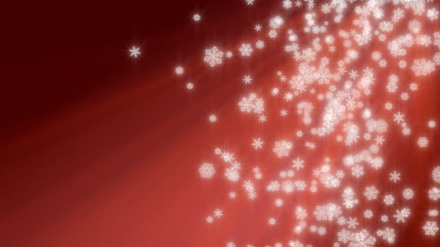 Christmas snowflakes falling on red background, loopable. video