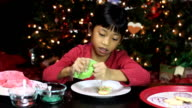 Christmas Snowman Cookie Gets Green Icing And Sprinkles video