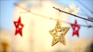 Christmas star, christmas decorations, blinking, tree, gold video
