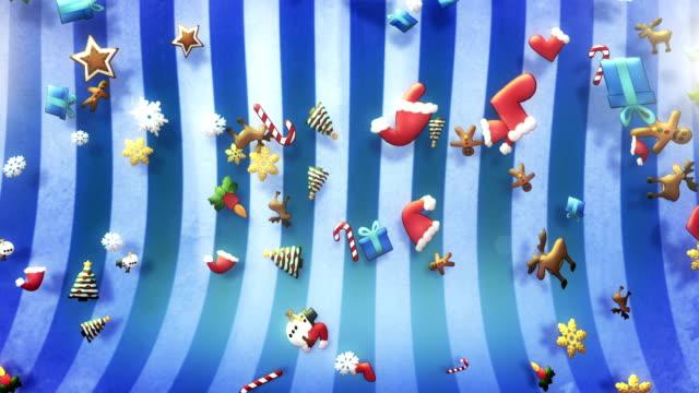 Christmas symbols falling (blue) - Loop video