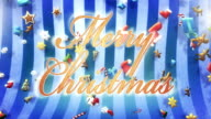 Christmas symbols falling (blue, with text) - Loop video