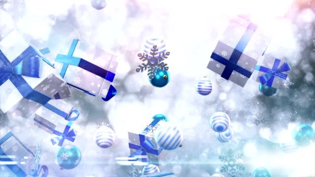 Christmas symbols falling (silver/blue) - Loop video