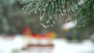 Christmas Tree Against Background Natural Snow Falling With Light Wind in Icicle video